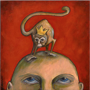 art image of monkey on top of person's head